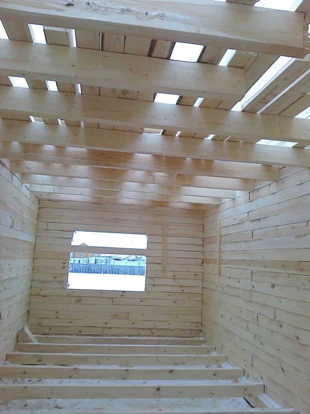 строим дом из бруса зимой, фото изнутри